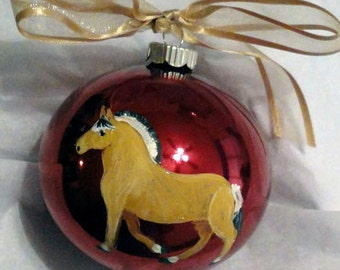 Norwegian Fjord Horse Hand Painted Christmas Ornament - Can Be Personalized with Name