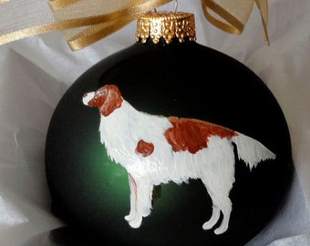 Irish Red and White Setter Hand Painted Christmas Ornament - Can Be Personalized with Name
