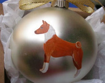 Basenji Dog Hand Painted Christmas Ornament - Can Be Personalized with Name