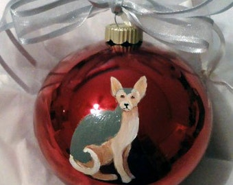 Sphynx Cat Hand Painted Christmas Ornament - Can Be Personalized with Name