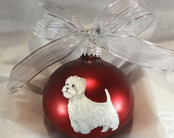 West Highland White Terrier Westie Hand Painted Ornament - Can Be Personalized with Name