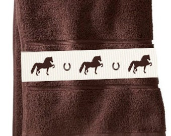 Morgan Horse Bath Towel - Horses and shoes with or without name!