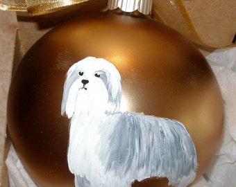Bearded Collie Beardie Hand Painted Christmas Ornament - Can Be Personalized with Name