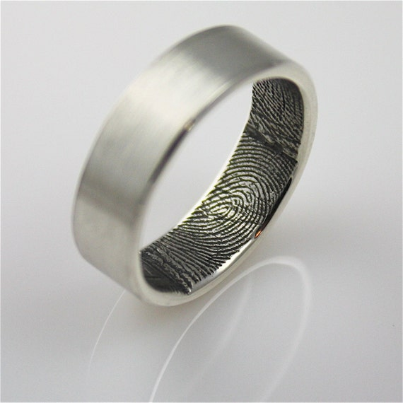 custom fingerprint wedding band ring