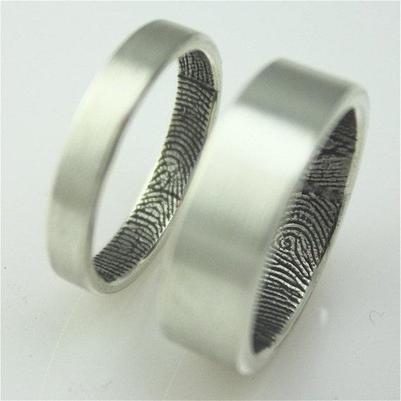 Custom fingerprint wedding bands in sterling silver (set of two)