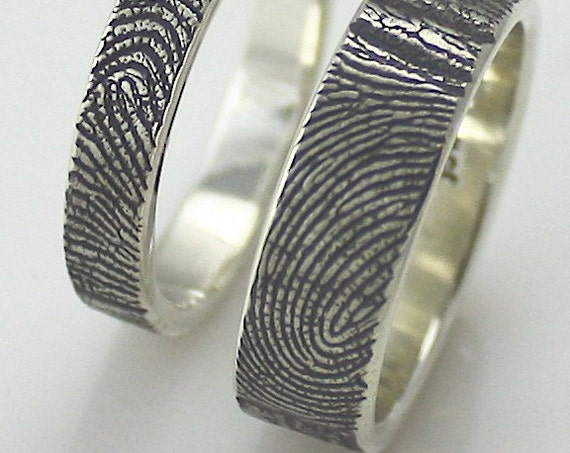 Custom sterling finger impression wedding/commitment band set of 2 with texture on OUTSIDE