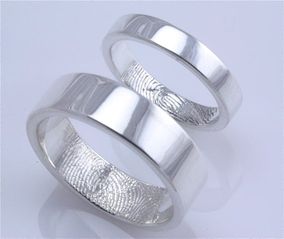 Sterling Silver Custom Single Fingerprint Tip Wedding or Commitment Band--set of 2