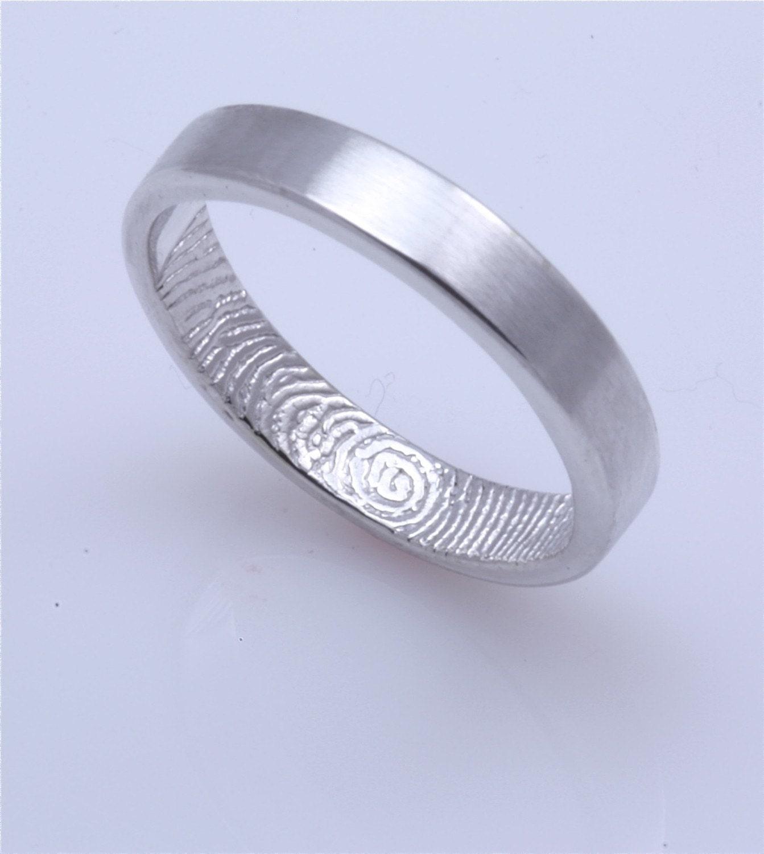 custom fingerprint wedding band 3mm wide not blackened