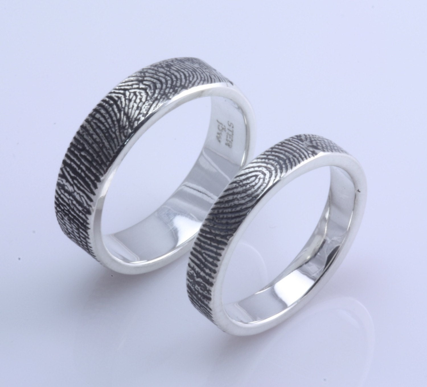 Custom Fingerprint Wedding Commitment Band Set With Texture