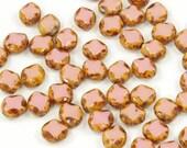 Czech Glass 8x9mm Diamond Window Beads Opaque Pink Picasso - 24