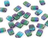 Czech Glass Transparent Blue, Green and Purple Rectangle Beads 8x12mm - 12