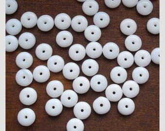 Smooth Rondelles 6mm White Czech Glass Beads - 50