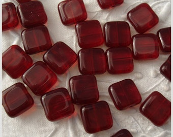 Czech Glass Square Tile Beads 9mm Ruby Red - 25