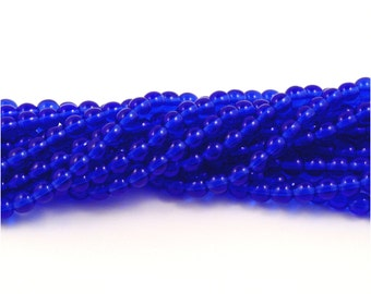 Czech Glass Sapphire Blue Round Druk Beads 6mm - 50