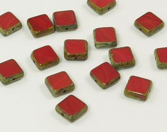 Czech Glass Beads Opaque Red Picasso Fancy Squares 11mm - 15