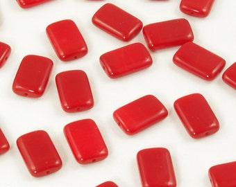 Czech Glass Beads Opaque Red Rectangles 10x15mm - 12