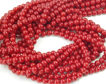 AAA Quality Round Red Bamboo Coral Beads Strand 6mm