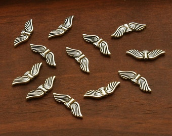 Silver Plated Pewter Finely Etched Angel Wings 21mm - Set of 12