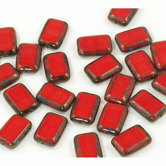Czech Glass Rectangle Window Beads Opaque Red Picasso 8x12mm - 12