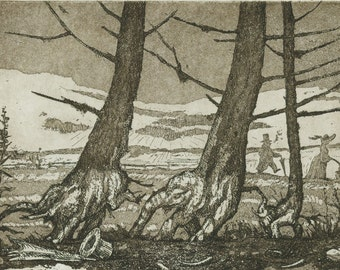 Etching - A Walk in the Country