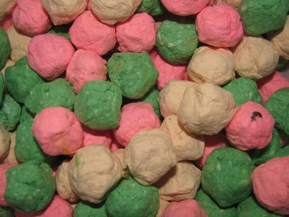 RESERVED for courtneyadyman- Pink, Ivory and Seafoam Green Seed Bombs - Handmade Paper Balls Embedded With Organic Wildflower Seeds