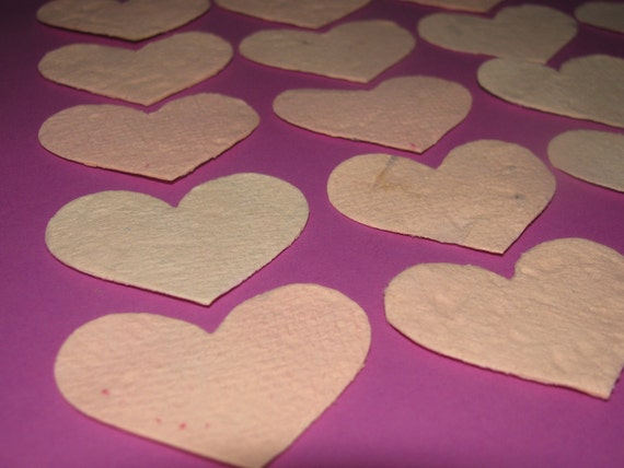 Heart Confetti  Plantable Paper  Ivory  Wildflower Seed Mix