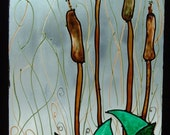 Cat Tails in the Rain---  Painted Stained Glass Window