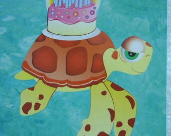 Sea Turtle Happy Birthday Card  w/ cake on top of shell