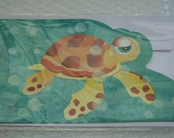 Sea Turtle Greeting Card  w/ bubbles