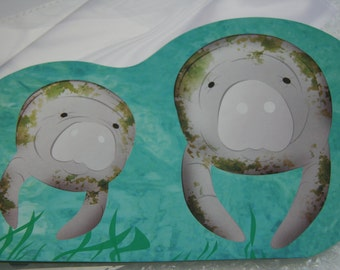 Manatee Mom and calf Greeting Card