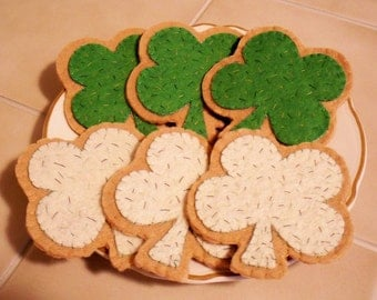 Felt Cookies That Are Shamrocks Made To Order