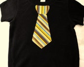 ALL TIED UP - cute boys brown tie applique black tshirt size 18 month