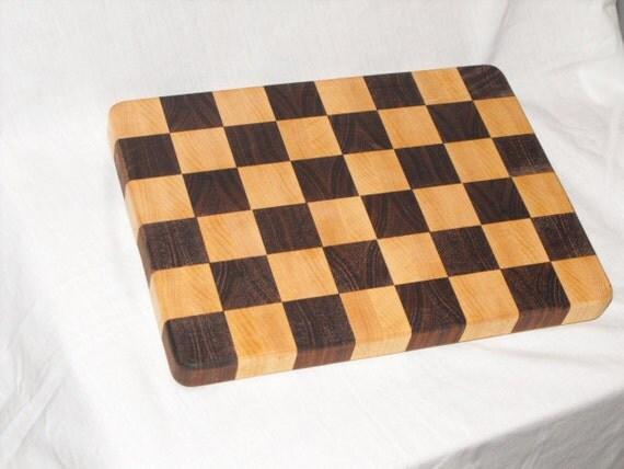 Cutting board butcher block maple and walnut end grain kitchen board