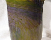 Hand Blown Glass Olive and Lilac Swirl Vase - SALE