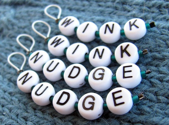 WINK WINK NUDGE NUDGE - set of 4 stitchmarkers