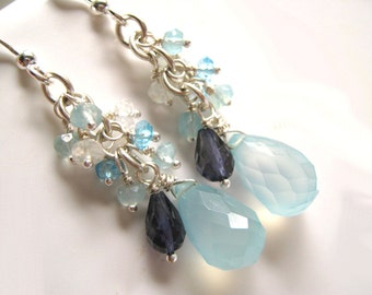 Sky Blue Chalcedony and Moonstone Earrings, Including Iolite and Blue Topaz Gemstones Gift for Her