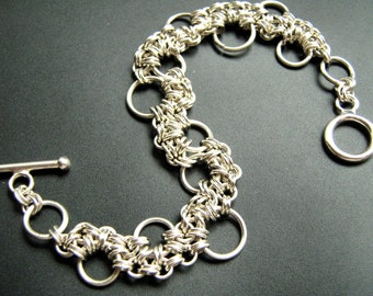 Sterling Silver Bracelet Hoop Stepping Stone Chainmaille Lace Bracelet