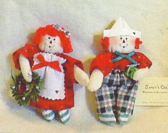 Tiny Raggedy Ann and Andy Christmas Ornament Doll Pattern, Janets Creations