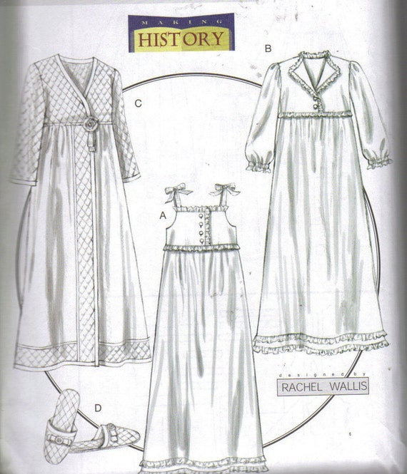 Nightgown, Robe, Slippers PATTERN xsmall to medium sizes