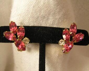 Vintage Lewis Segal Pink Crystal Pierced Earrings