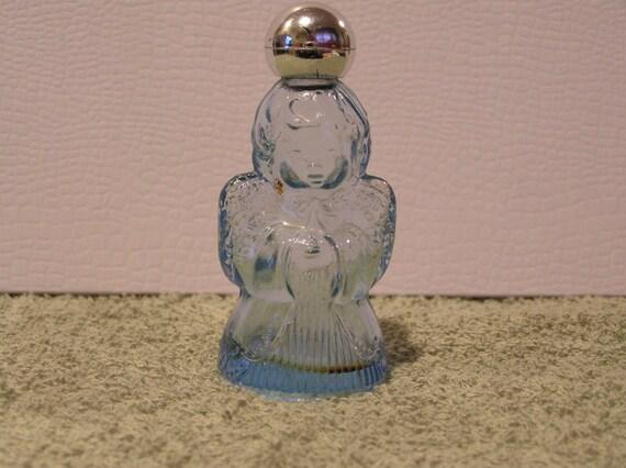 Vintage Avon Blue Glass Angel Perfume Bottle Timeless Ultra Cologne