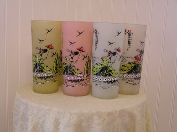 7 Pastel Color 1950s Drinking Glasses with Southern Belle Scene Reduced