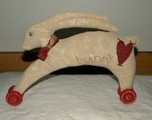 Primitive Fabric Sculpture, Wheely Bunny 11x9 inches, Ready to Ship