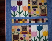 Crib Quilt, Made to Order, Teddies and Tulips, Hand Quilted, 36x43 inches