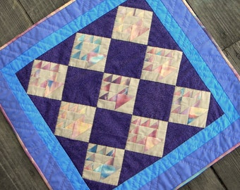 Wall Hanging or Mini Quilt with 2 pillows, 17 by 17 inches, Flower Basket,
