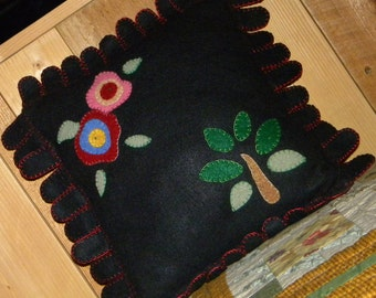 Christmas Applique Pillow-Cushion, Flowers and Pear Tree, Hand Blanket Stitched, 13x13 inches, Ready to Ship