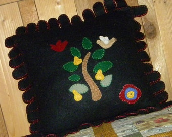 Applique Rayon Felt Pillow, A Partridge in a Pear Tree, 13x13 inches, Ready to Ship