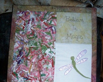 Fiber Art, Upcycled Fabric, Hand Quilted, 14X14 1/2, Believe in Magic
