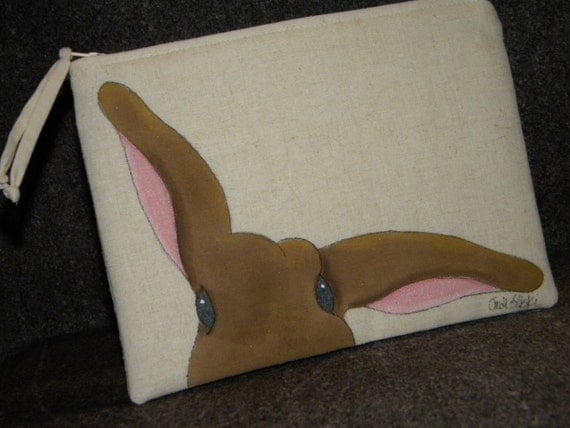 GOTS-Organic Cotton Hand Painted Bunny Clutch with Zipper Closure,  Peek-a-Boo Bunny, Fully Lined, 5.5 x 8 inches
