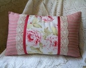 Faded Roses English Breakfast Pillow with charming red ticking and vintage lace
